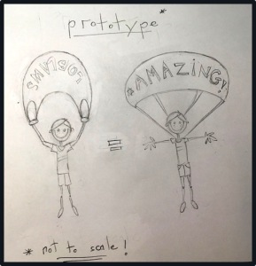 "A child's drawing of a boy holding a shopping bag next to an actual parachutist. Drawing is ""Not to scale""."